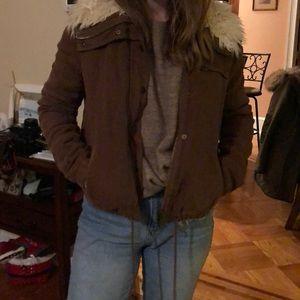 Free People brown shaggy jacket